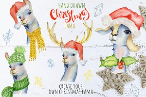 Christmas lama watercolor creator 1