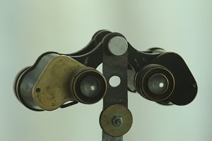 antique binoculars closeup