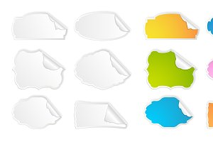 Peel Off Vector Stickers Set