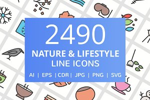 2490 Nature & Life Filled Line Icons