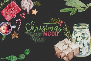 Watercolor Christmas Mood Clipart