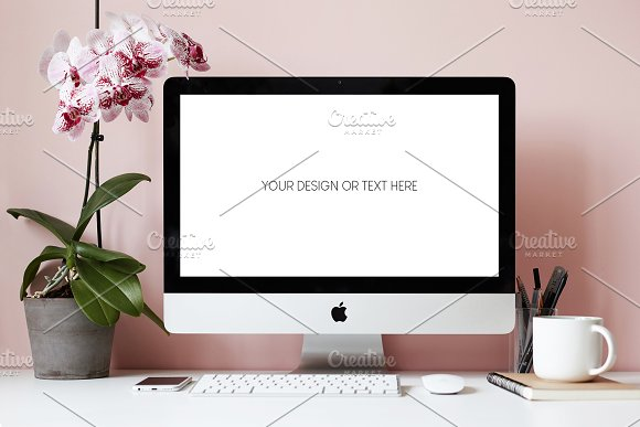 Download Workspace iMac PSD mockup