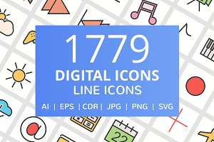 1779 Digital Filled Line Icons