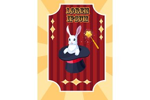 Vector circus poster vith rabbit in hat and magic wand
