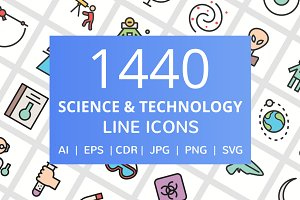 1440 Science Filled Line Icons