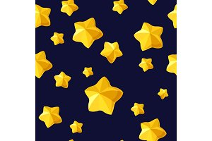 Vector seamless pattern with golden volunetric stars