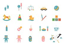 Babies toys icons