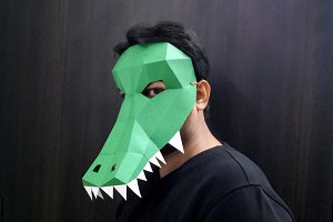 DIY Crocodile Mask - 3d papercraft