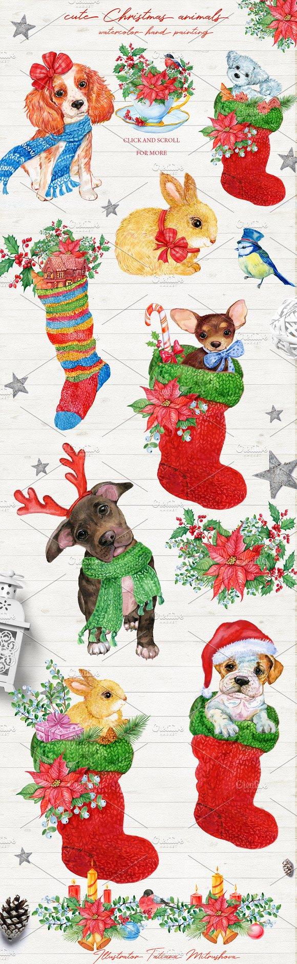 Merry Christmas Animals.Merry Christmas Cute Animals