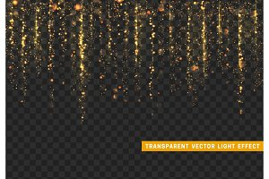 Glowing lights golden glitter. Sparkle particles texture. Only for use in Adobe Illustrator, eps10