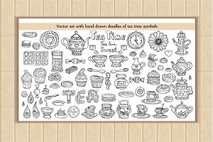 Set of doodles with tea time symbols