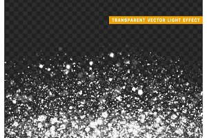 Glowing lights white glitter. Sparkle particles texture. Only for use in Adobe Illustrator, eps10