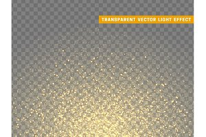 Golden glowing lights magic effects. Only for use in Adobe Illustrator, eps10