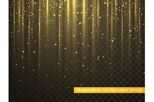 Gold glitter particles. Golden glowing lights magic effects. Only for use in Adobe Illustrator, eps10