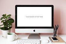 Desktop scene of female designer PSD