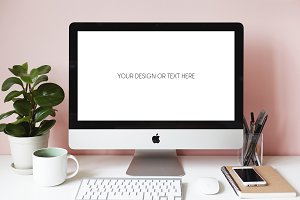 Desktop scene of female designer PSD