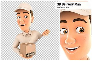 3D Delivery Man Behind Diagonal Wall