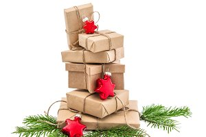 Wrapped gift boxes Christmas decor