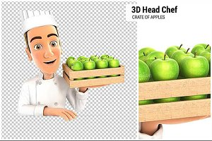 3D Head Chef Holding Crate of Apples