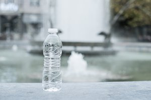 Bottle mineral water and fountain