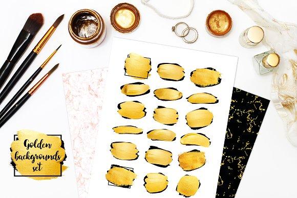 Set of golden brush strokes+patterns