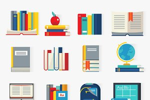 School Books Decorative Icons Set
