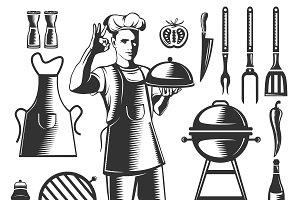 Vintage BBQ Element Set