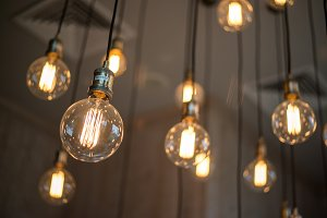 Hanging designer bulbs