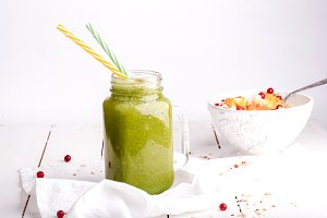 Green smoothies healthy morning breakfast for health and energy