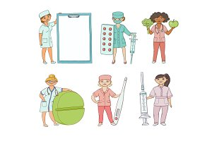vector flat doctor, nurse surgeon characters set