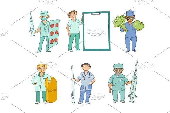 Vector Flat Doctor Nurse Surgeon Characters Set