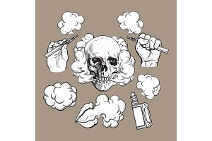 Vaping related elements, symbols - smoking skull and lips, vaporizer, e-cigarette