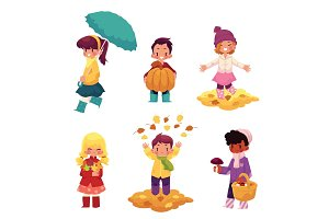 Kids, children having fun in fall, autumn season