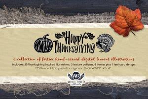 Happy Thanksgiving Linocuts
