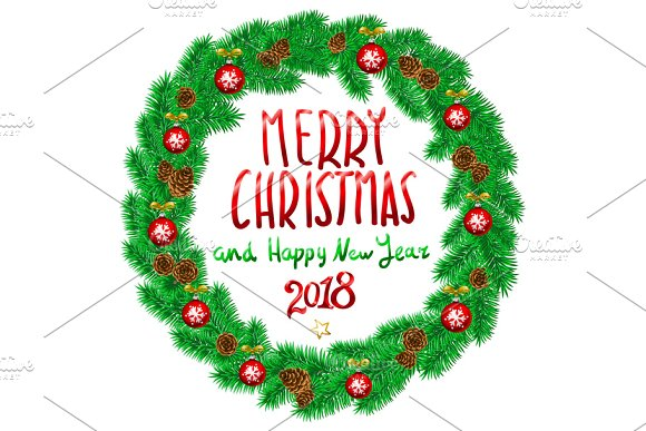 Merry Christmas Happy New Year 2018 ~ Graphics ~ Creative Market