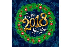 Happy New Year 2018 gold