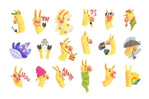 Funny alpaca characters posing in different situations, cartoon emoji alpaca colorful Illustrations