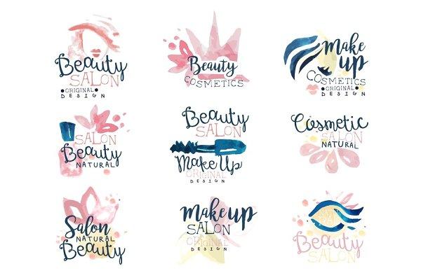 Beauty salon logo design, set of