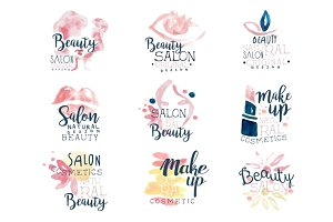 Beauty salon logo design, set of colorful hand drawn watercolor Illustrations