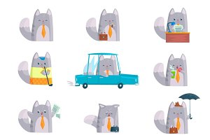 Cute businessman cat character at work and rest, funny cat in different situations set of cartoon colorful Illustrations