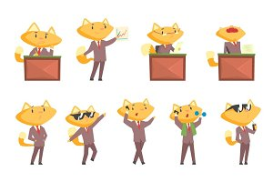 Cute businessman fox character at work and rest, funny cat in different situations set of cartoon colorful Illustrations