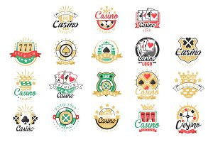 Casino logo design, set of colorful gambling emblems, labels, badges, vector Illustrations