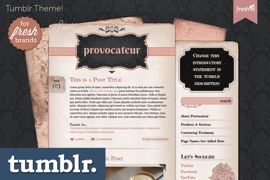 031f5a97471 Provocateur Tumblr Theme ~ Tumblr Themes ~ Creative Market