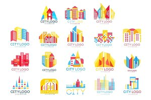 City logo original design set, logotype elements with buildings vector Illustrations