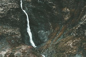 Waterfall in Mountains aerial view