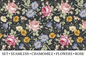 Set Seamless Flowers Rose Chamomile