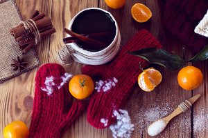 warm winter with mittens and tea