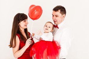 Happy family heart balloon