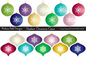Gradient Christmas Ornaments Clipart