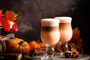 Delicious pumpkin spicy latte